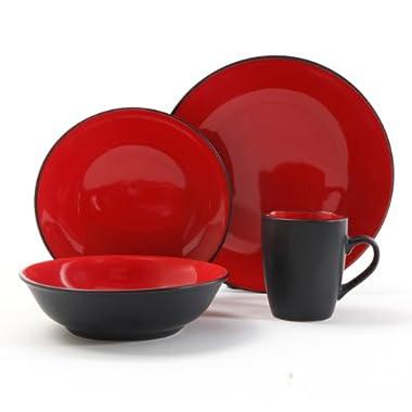 Gibson Vivendi 2-Tone Dinnerware Set, 16-Piece, Red/Black