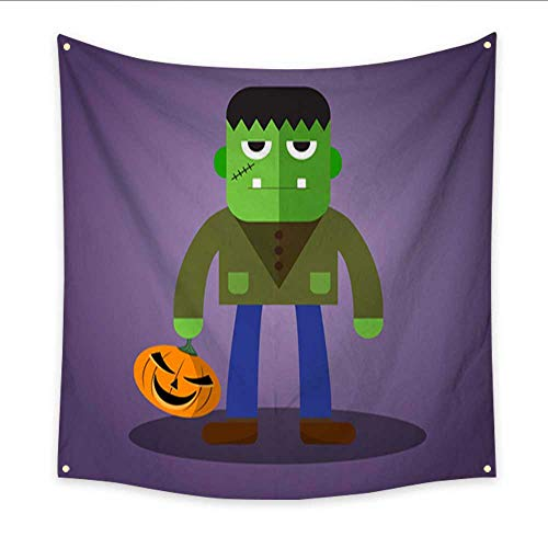 Warm Family Party Decorations Tapestry Frankenstein Cute Halloween Character Large tablecloths Wall Tapestry 32W x 32L Inch ()