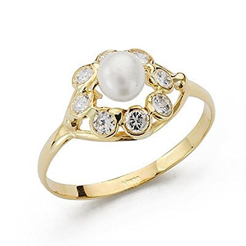 18k gold ring pearl communion zircons [AB4203] by Inmaculada Romero TM