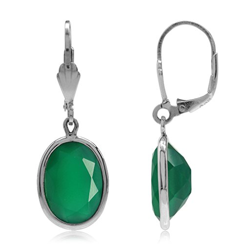 1034ct-Natural-Emerald-Green-Agate-925-Sterling-Silver-Drop-Dangle-Leverback-Earrings