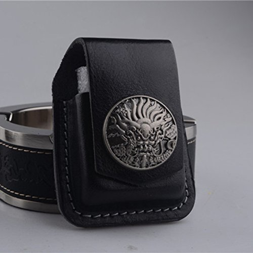 Creative Genuine Lighter Leather Pouch Handmade and High-End Leather Case with Pocket Belt Loop for Kerosene Lighter and Copper Lighter,Black and Brown (Black)
