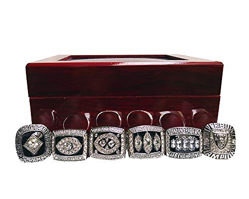- Gloral HIF Oakland Raiders Championship Ring Super Bowl & AFC 1967 1976 1980 1983 2002 Replica Ring with Display Box