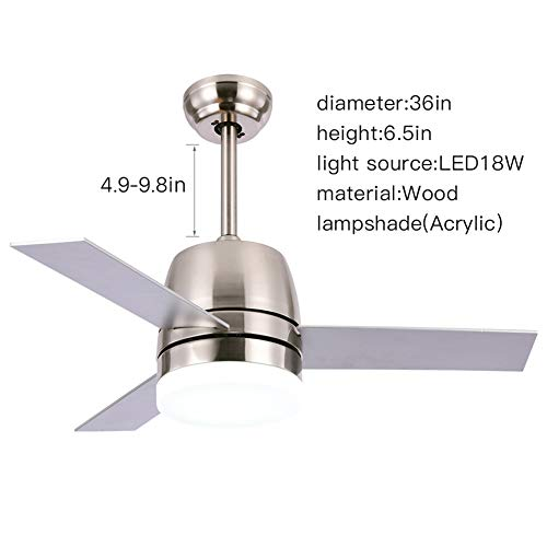 OCSEVE 36'' Ceiling Fan LED Light Kit Remote Control, Flush Mount Brushed Nickel 3 Blades Ceiling Fan with Light for Indoor Bedroom by OCSEVE (Image #2)