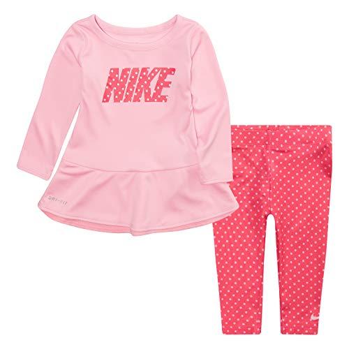 NIKE Children's Apparel Baby Girls Long Sleeve Top and Leggings 2-Piece Set, Rachel Pink/Black Dots, 12M