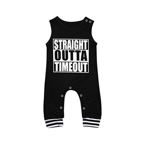 Goodlock Toddler Infant Fashion Romper Baby Girls Boys Summer Letter Print Clothes Jumpsuit Romper (❤️Black, Size:12M) ()