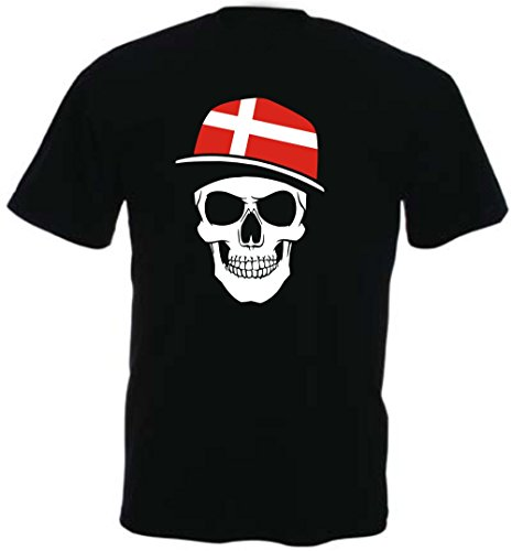 Dänemark - T-Shirt - Skullz Fahne - Totenkopf schwarz