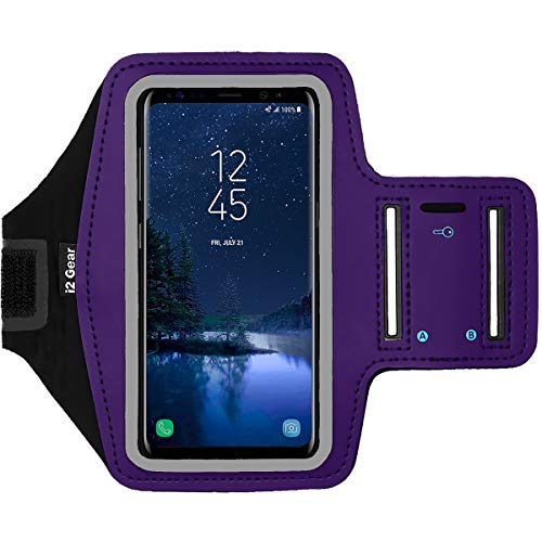 i2 Gear Cell Phone Armband for Running - Workout Phone Holder Case with Adjustable Arm Band Sleeve, Reflective - Compatible with Samsung Galaxy S9, S8, S7, S6 & iPhone X, XS (Purple)