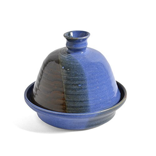 Holman Pottery Garlic Baker, Blue Earth