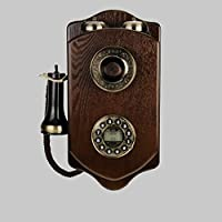TELEPHNY Wooden Wall-mounted Antique Cable landline telephone,Creative european-style Old Rotary Fixed telephone retro For home hotel -A 38x19cm(15x7inch)