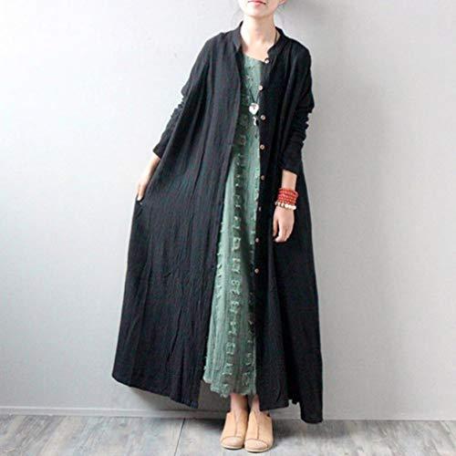 Redondo Negro Larga Mujer Liso Npradla Manga Casual Abrigo Para tw1Sqg7