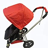 Red Sun Shade Canopy with Wires and Under Seat Storage Basket Plus Free Handle Bar Covers for Bugaboo Cameleon 1, 2, 3, Frog Baby Child Strollers