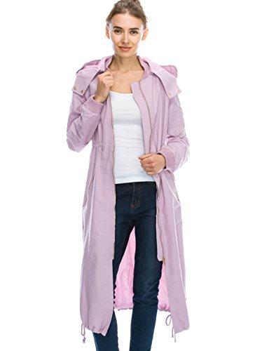 Daisy Women's Zipper Pocket Detail Hooded Long Waterproof Jacket. (DH419) (XL, LAVENDER)