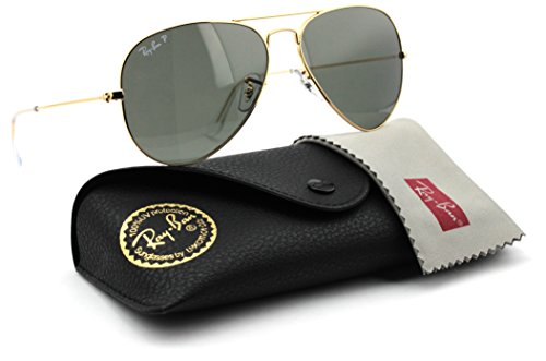 Ray-Ban RB3025 001/58 Unisex Aviator Sunglasses Polarized (Gold Frame / Green Polarized Lens 001/58, - Rb3025 Ray Gold Ban