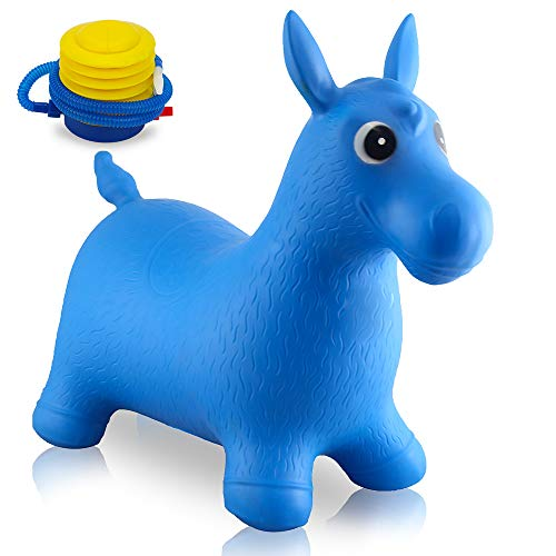 Blue Rubber Bouncy/Bouncing Horse, Baby Bouncer, Riding Large Hopper/Hopping/Hop Farm Animals Toys for Small Toddler/Kids/Children/Infant, Big Hoppity Inflatable Balls for Boys/Girls, Sit and Spin