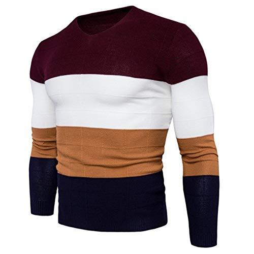 Col Casual Pull Maille Top Sweater Casual V Automne En Homme À Tricots Pullover Patchwork Bazhahei Chaud Rouge wxSqUf