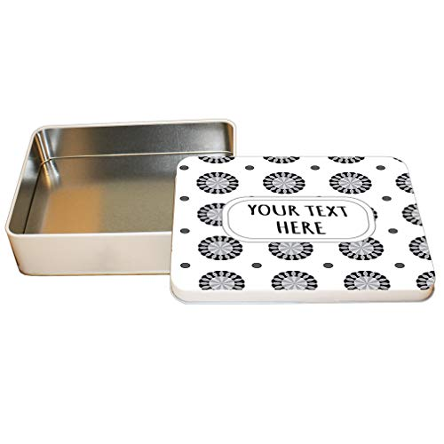 Style In Print Aluminum Metal Tin Custom Round Shape 83 Pattern Grey Black Adults Trinket Box 4
