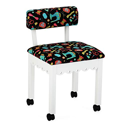 Traditional Arrow Chair - Arrow Sewing Cabinet Black Sewing Notions Chair with Gingerbread Scallops - White Finish