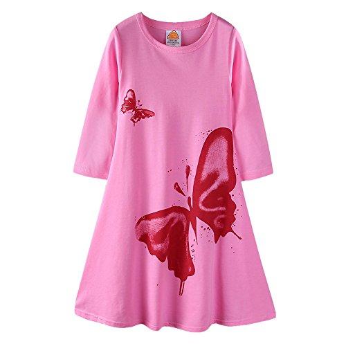 Butterfly Long Dress - LittleSpring Little Girls Long Swing Dress Vivid Butterfly Casual Maxi Dress Pink Size 5T