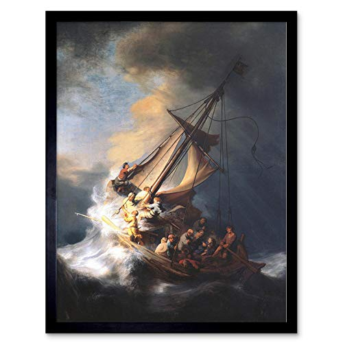 (Wee Blue Coo Rembrandt Christ Storm On Lake of Galilee Old Painting Art Print Framed Poster Wall Decor 12x16 inch)