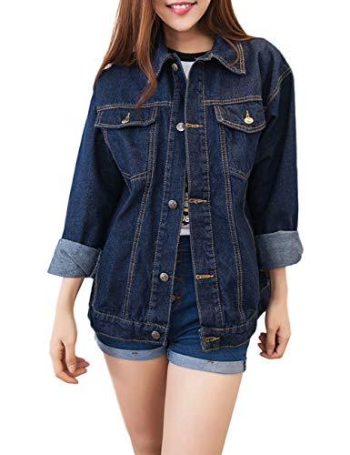 Innifer Women Vintage Plus Size Long Sleeve Casual Denim Jacket Jean Coats -