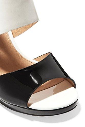 Kolnoo Femmes Chaussures de mode 10cm talon haut été Beach sandales en cuir verni pour le parti Prom white zAf5R4