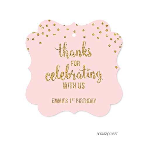 Andaz Press Blush Pink Gold Glitter Girl's 1st Birthday Party Collection, Personalized Fancy Frame Gift Tags, Thank You for Celebrating With Us, 24-Pack, Custom Name (1st Birthday Thank You)