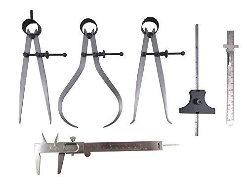 Taytools 6 Piece Measuring Set/Kit with 6'' Spring Dividers, Inside & Outside Calipers, Depth Gauge, Pocket Ruler, Vernier Caliper 113500 by Taytools