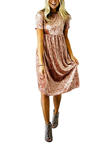 Velvet Soft Dress (Yissang Women's Autumn Winter Flared Mid-Calf Velvet Dress Orange X-Large)