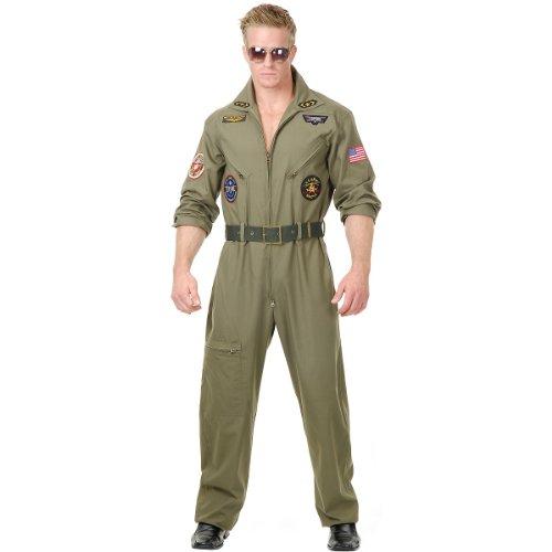 Charades Men's Wingman Flight Jumpsuit And Belt, Olive Green, X-Large
