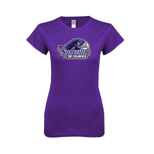 Stonehill Next Level Ladies Softstyle Junior Fitted Purple Tee 'Official Logo' - Small