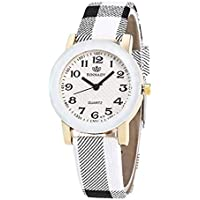 Fashion Clearance Watch! Noopvan Womens Watches on Sale Ladies Teen Girls Dress Wrist Quartz Watch with Color Block Leather Band Unique Casual Analog Quartz Watches Classic Wristwatch X39 (White)