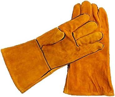 Bublanwo耐熱 防火手袋 ストーブ 焚き火台 溶接 薪ストーブ 裏起毛 メンズ キャンプグローブ 牛革 レザーグローブ BBQ 耐熱グローブ アウトドア用 作業革手袋 (イエロー)