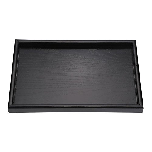 Rectangular Tray Wooden (Black Rectangular Wooden Tea Tray, Restaurant Service Tray, Coffee Snack Food Solid Wood Tray(25182 cm))