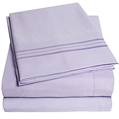 1500 Supreme Collection Bed Sheets - PREMIUM QUALITY BED SHEET SET & LOWEST PRICE, SINCE 2012 - Deep Pocket Wrinkle Free Hypoallergenic Bedding - Over 40+ Colors - 4 Piece, King, Lavender