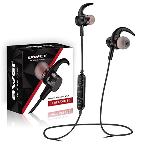Bluetooth Headphones, AWEI V4.2 in-Ear Earphones, IPX5 Sweatproof Wireless Earbuds Microphone CVC Noise Cancelling, Richer Bass HiFi 8-Hrs Battery, Magnetic Sports Headsets, Comfy & Fast Pairing