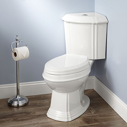 Naiture Dual-Flush Corner Toilet With Seat(Elongated Bowl) in White - 1/2 Elongated Inch Bowl