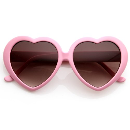 Large Oversized Womens Heart Shaped Sunglasses Cute Love Fashion Eyewear (Light Pink) -