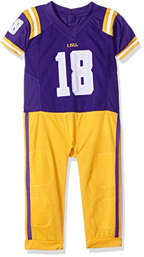 FAST ASLEEP NCAA LSU Tigers Boys Infant Football Uniform Pajamas, 6-9 Months, Purple/Gold