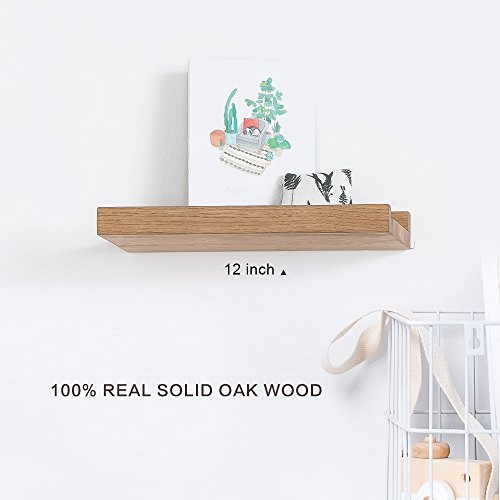 - INMAN Floating Shelves Display Wooden Wall Mount Ledge Shelf Picture Record/Album Photo Ledge Small Hanging Kids Wall Bookshelf for Bedroom Kitchen Office Home Décor (Oak, 12