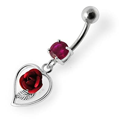 Silver Belly Rings Round CZ Crystal Gemstone with Stylish Rose in Heart Dangling 925 Sterling Body Jewelry