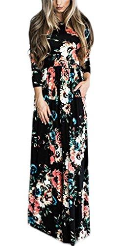 Manga Otoño Pastel Ropa Maxi Negro Fashion Patrón Elegantes Redondo Basic Vestidos Camiseros Flores Cuello Vestido Vestido Vestido Primavera Mujer Largo De Vestidos Vestido Larga Cómodo Camisero q4YHwxSnnd