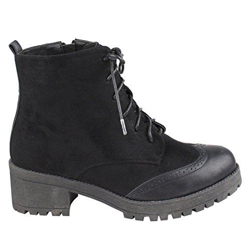 Beston EJ23 Womens Lace Up Inner Zipper Low Chunky Heel Ankle Booties Run Small Black QZ8RkE