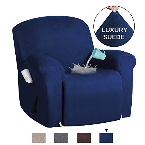 H.VERSAILTEX 1-Piece Furniture Cover Ultra Stretch Suede Slipcovers Sofa Covers Furniture Protector with Elastic Bottom, Anti-Slip Foams Attached Couch Shield Recliner Sofa Cover (Recliner, Navy)