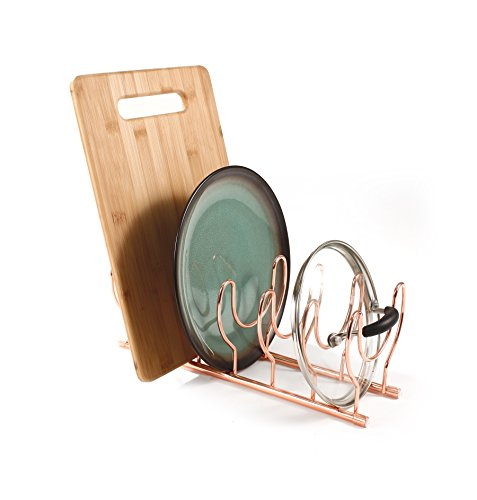 Spectrum Diversified Euro Lid Organizer, Plate Rack, Lid Holder, Rounded, Copper