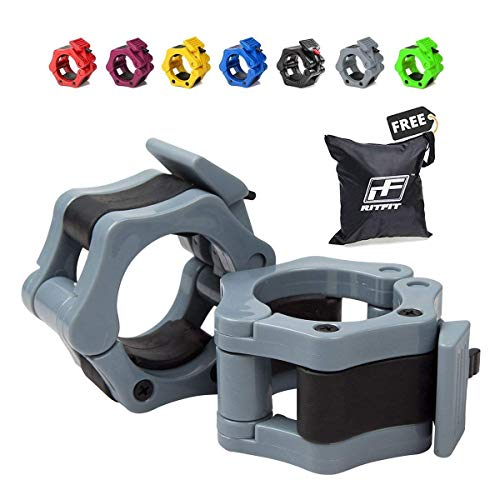 RitFit 2 Olympic Barbell Collars (Pair) - Solid Nylon Locking Clamps with Quick Release Secure Snap Latch - Great for Crossfit, OHP, Squats, Deadlifts, Cleans, Snatches (Gray)