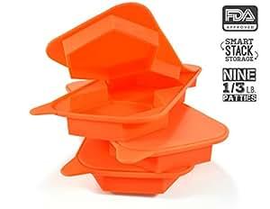 3unidades silicona 3en 1de prensa de hamburguesas Patty Maker, 9-in-3de flores moldes–inteligente y fácil de congelador de almacenamiento