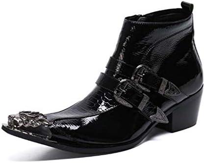 男性ハイトップブーツレースアップスタイル本革のためのアンクルブーツ繊細な刺繍ブローグメタル足チェルシーブーツ