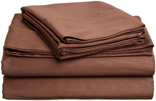 100% Premium Combed Cotton 400 Thread Count Twin 3-Piece Sheet Set, Solid, Mocha