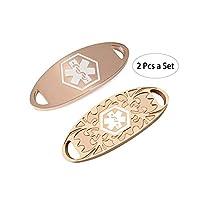 BAIYI 2 Pcs Women Rose Gold Medical Alert ID Tag for Custom Bracelet Free Engraving