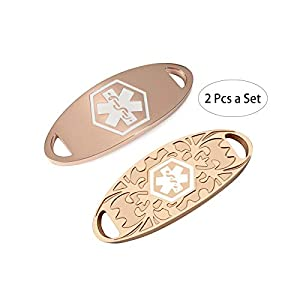 BAIYI 2 Pcs Women Rose Gold Medical Alert ID Tag for Custom Bracelet Free Engraving